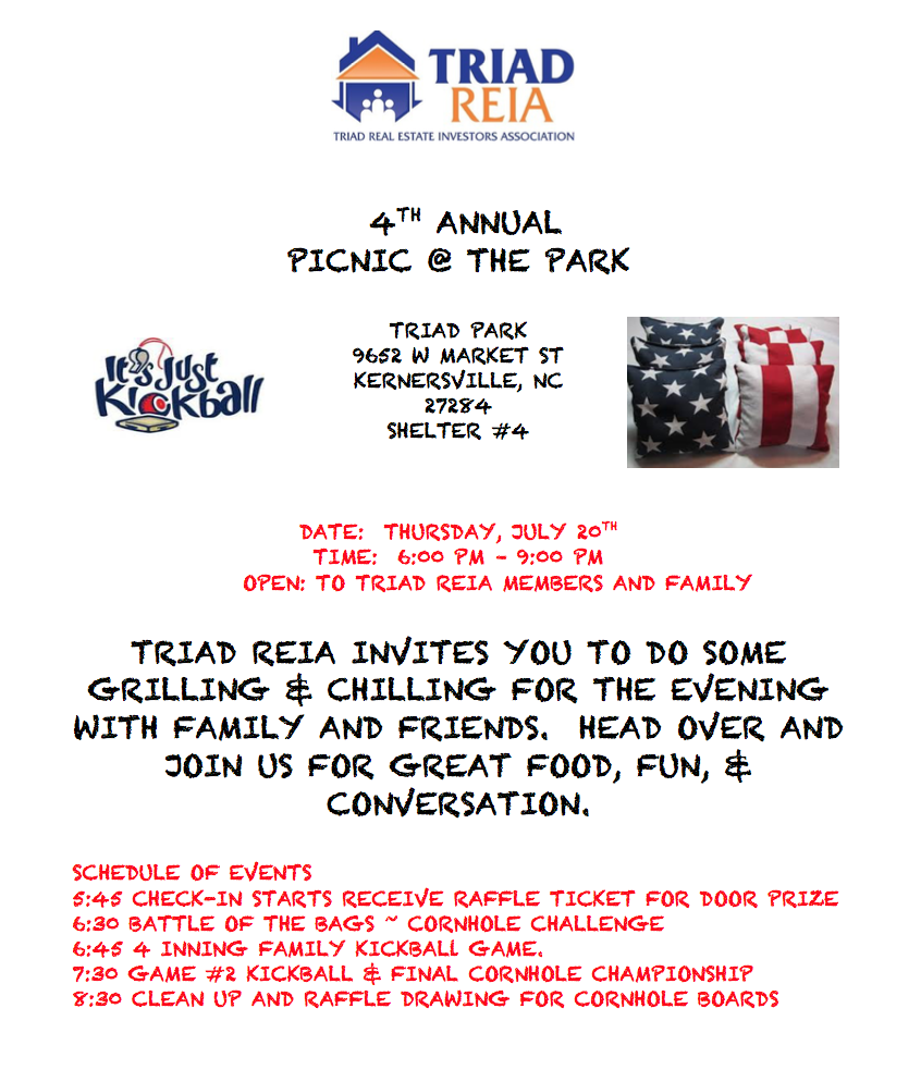 Triad REIA   Members and Family Summer Cookout